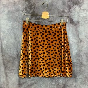 Madewell Velvet Caramel Polka Dot A Line Skirt 0